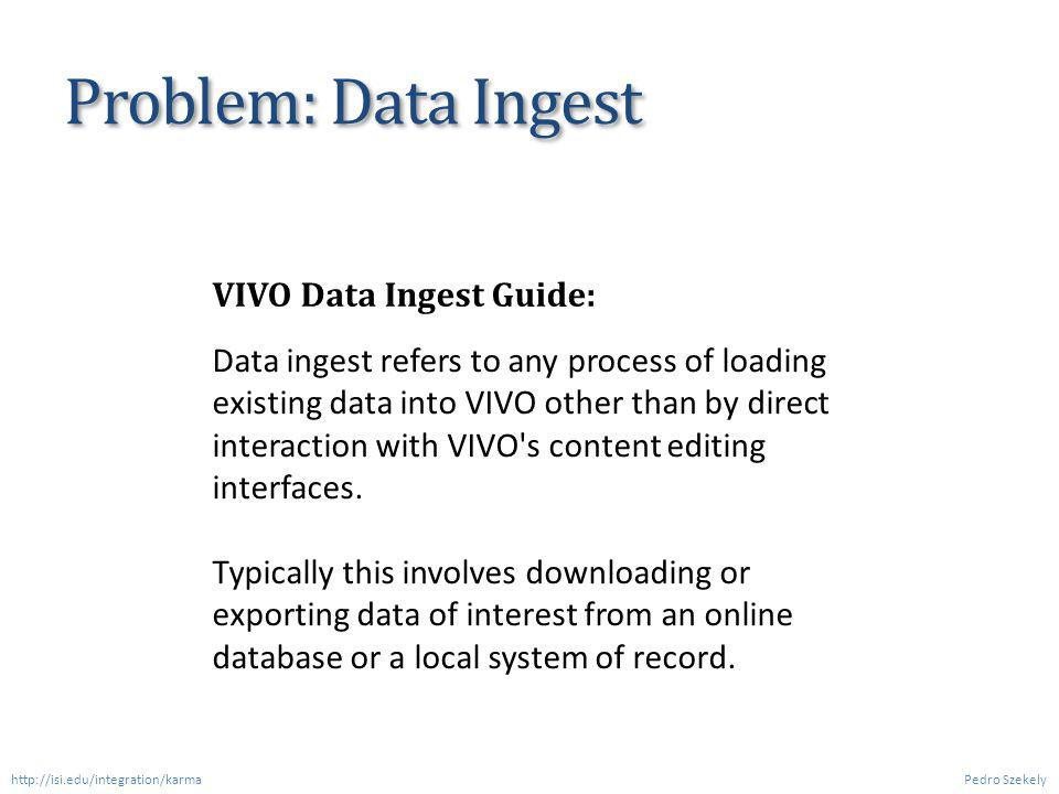 Current Methods for Importing Data into VIVO Pedro Szekely http://isi.edu/integration/karma