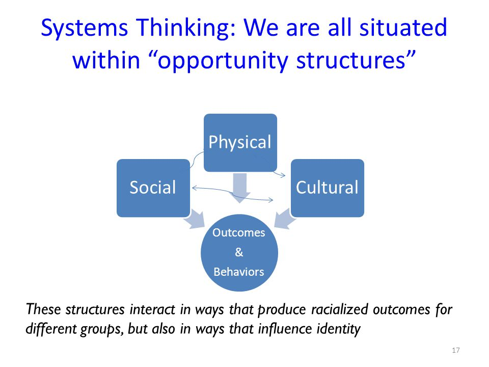 Systems Thinking: We are all situated within opportunity structures Outcomes & Behaviors SocialPhysicalCultural These structures interact in ways that produce racialized outcomes for different groups, but also in ways that influence identity 17
