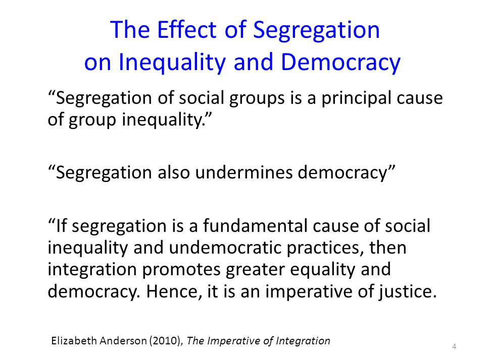 The Effect of Segregation on Inequality and Democracy Segregation of social groups is a principal cause of group inequality. Segregation also undermines democracy If segregation is a fundamental cause of social inequality and undemocratic practices, then integration promotes greater equality and democracy.