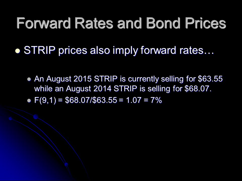 Forward Rates and Bond Prices STRIP prices also imply forward rates… STRIP prices also imply forward rates… An August 2015 STRIP is currently selling for $63.55 while an August 2014 STRIP is selling for $68.07.