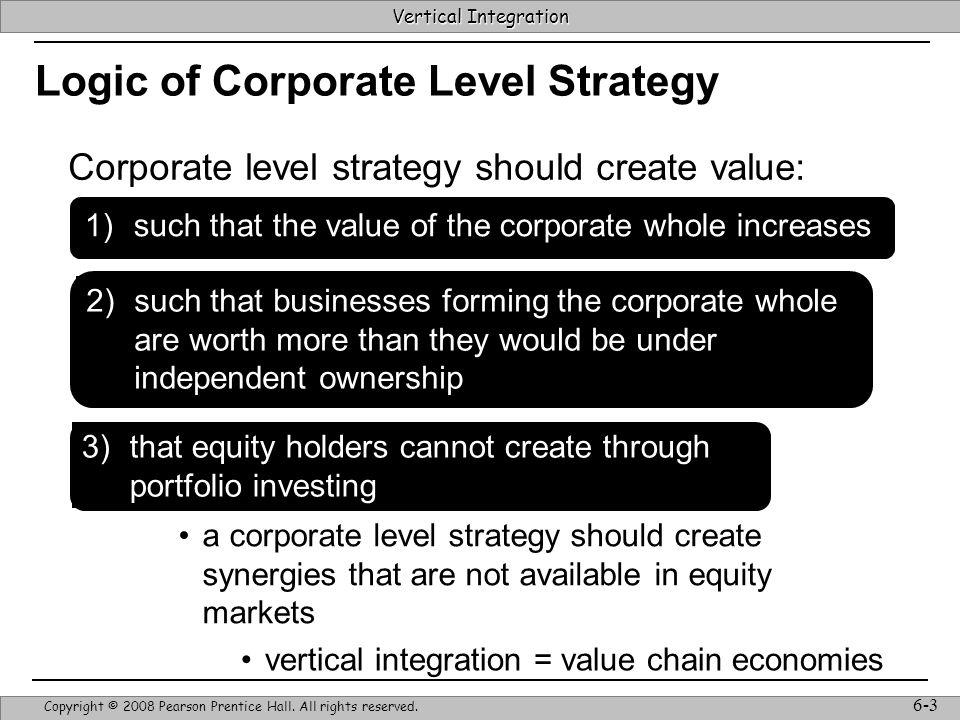 Vertical Integration Strategic Management & Competitive Advantage – Barney & Hesterly 14 Vertical Integration Copyright © 2008 Pearson Prentice Hall.