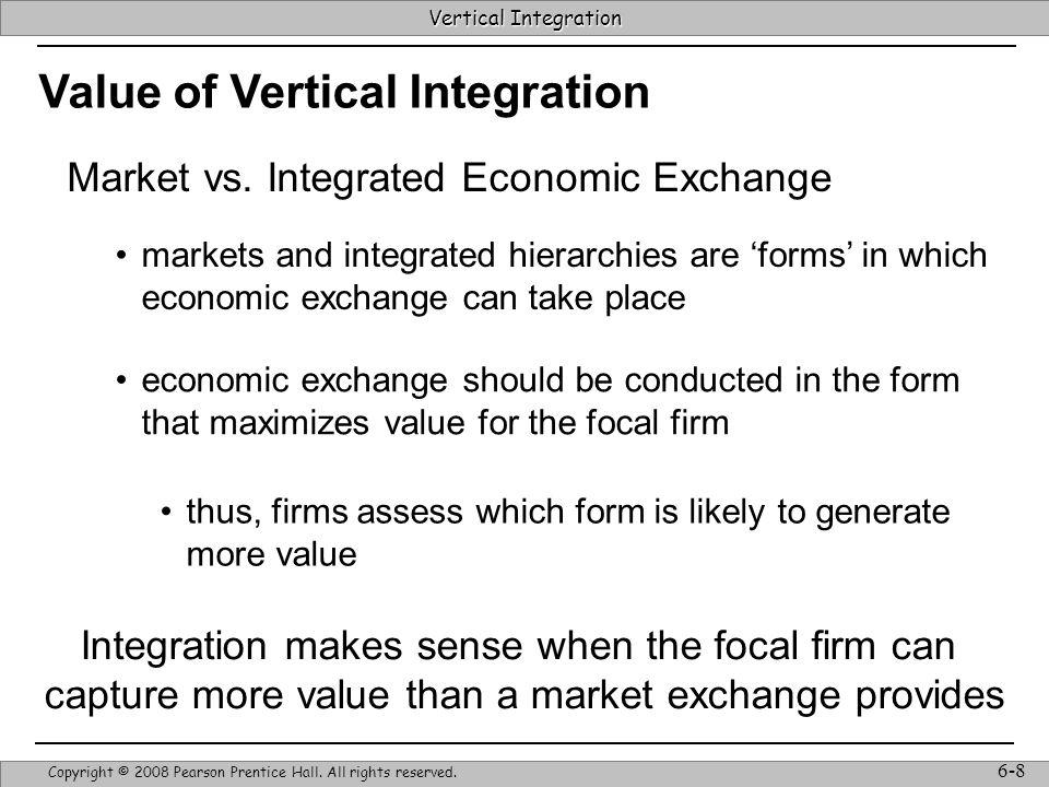 Vertical Integration Strategic Management & Competitive Advantage – Barney & Hesterly 19 Vertical Integration Copyright © 2008 Pearson Prentice Hall.