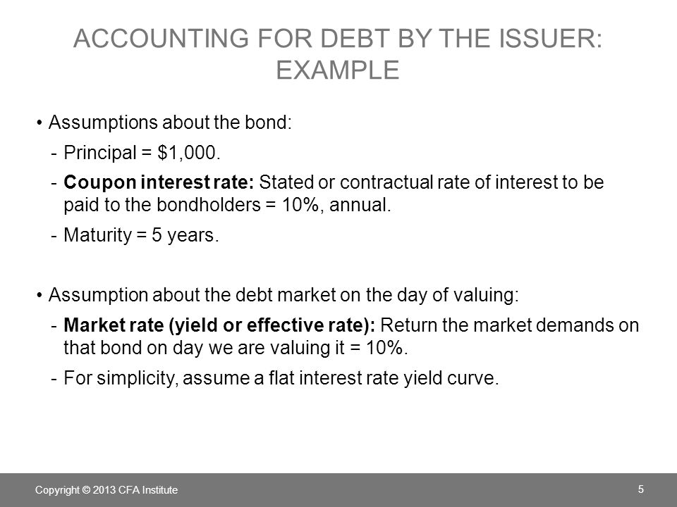 ACCOUNTING FOR DEBT BY THE ISSUER: EXAMPLE Assumptions about the bond: -Principal = $1,000. -Coupon interest rate: Stated or contractual rate of inter
