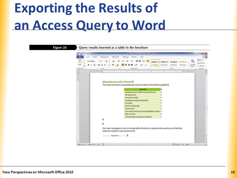 XP Exporting the Results of an Access Query to Word New Perspectives on Microsoft Office