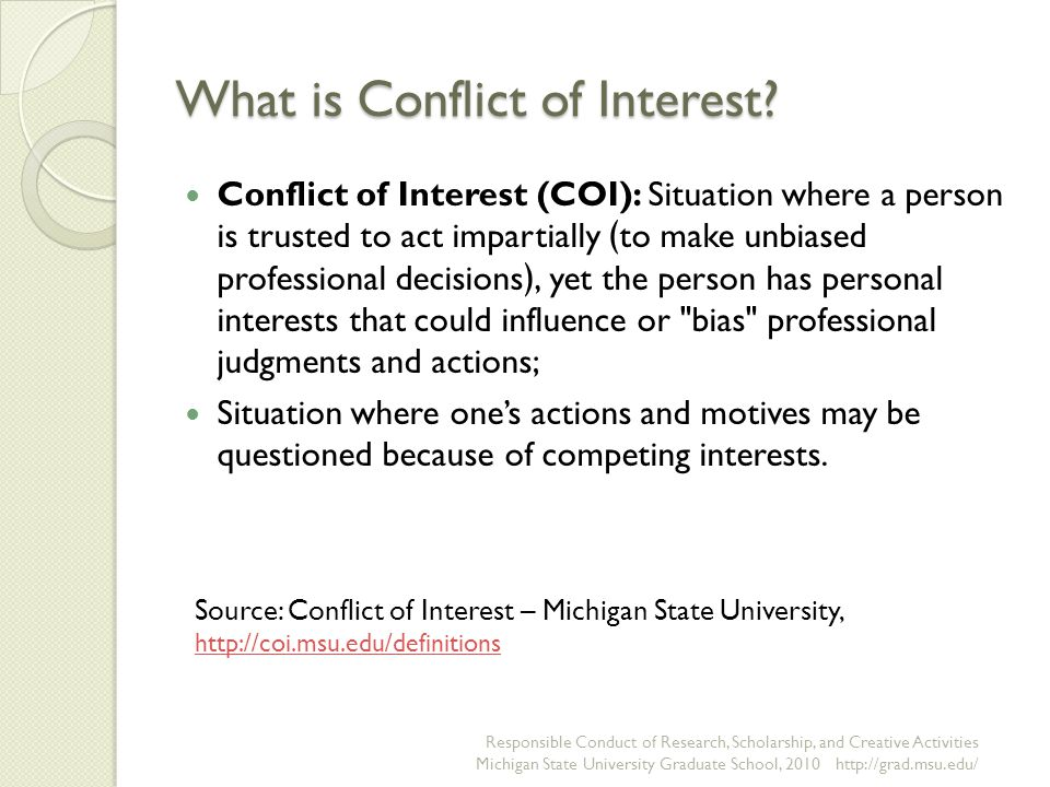 What is Conflict of Interest.