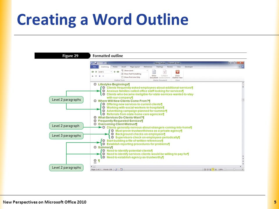 XP New Perspectives on Microsoft Office 20106 Creating PowerPoint Slides from a Word Outline When you create slides from a Word outline, PowerPoint uses the heading styles in the Word document to determine how to format the text In the Slides group on the Home tab, click the New Slide button arrow, and then click Slides from Outline Locate the file containing the outline, and then click the Insert button