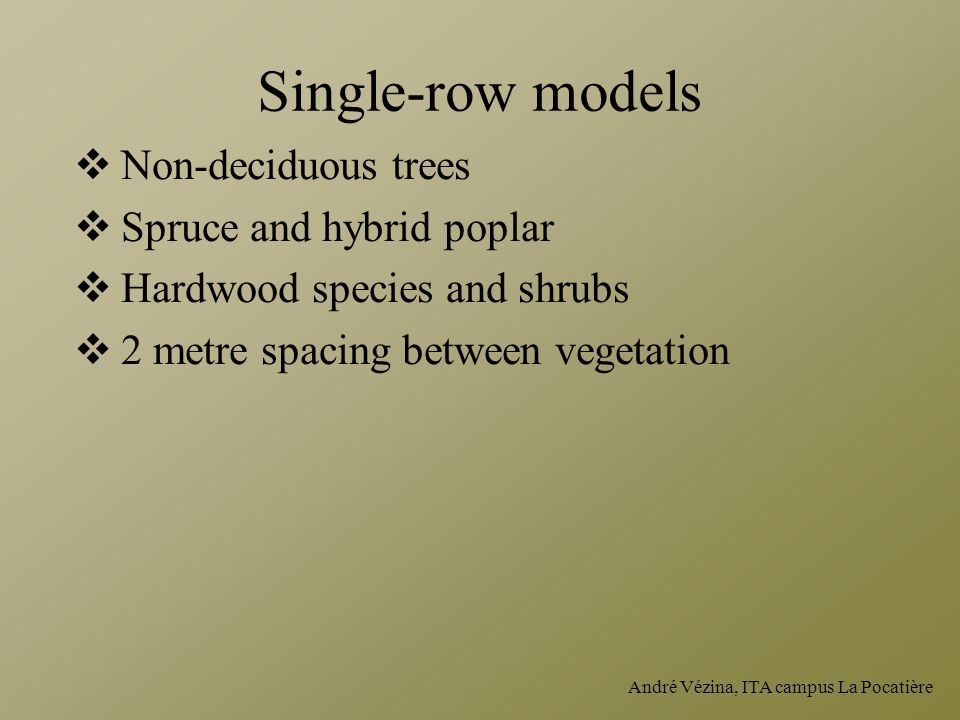 André Vézina, ITA campus La Pocatière Single-row models  Non-deciduous trees  Spruce and hybrid poplar  Hardwood species and shrubs  2 metre spacing between vegetation