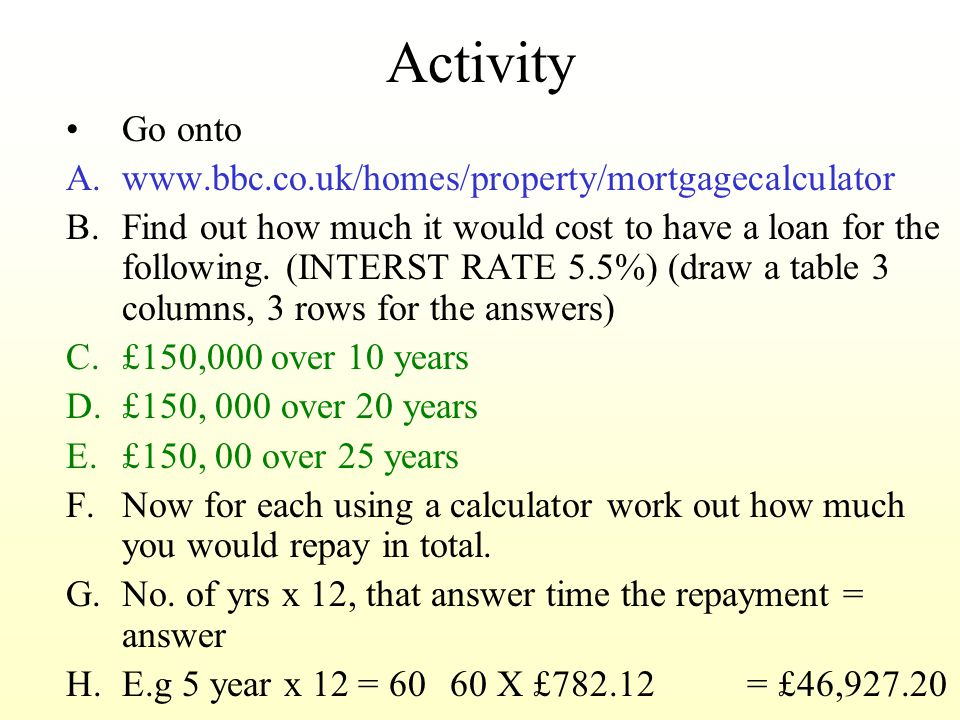 Activity Go onto A.www.bbc.co.uk/homes/property/mortgagecalculator B.Find out how much it would cost to have a loan for the following.