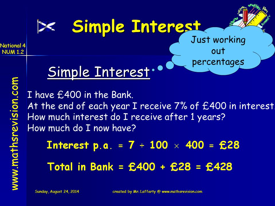 Simple Interest Just working out percentages   Simple Interest I have £400 in the Bank.