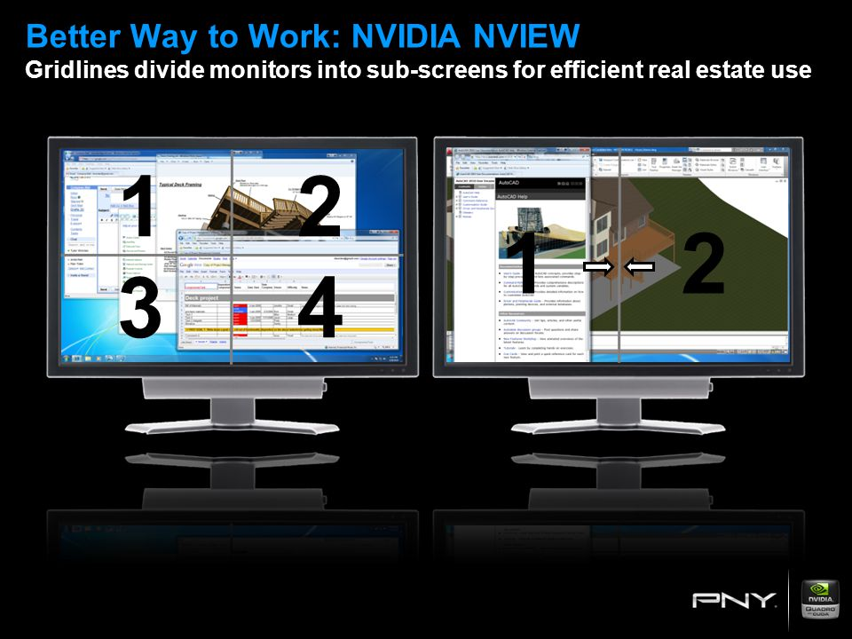 Better Way to Work: NVIDIA NVIEW Gridlines divide monitors into sub-screens for efficient real estate use 12 34 12