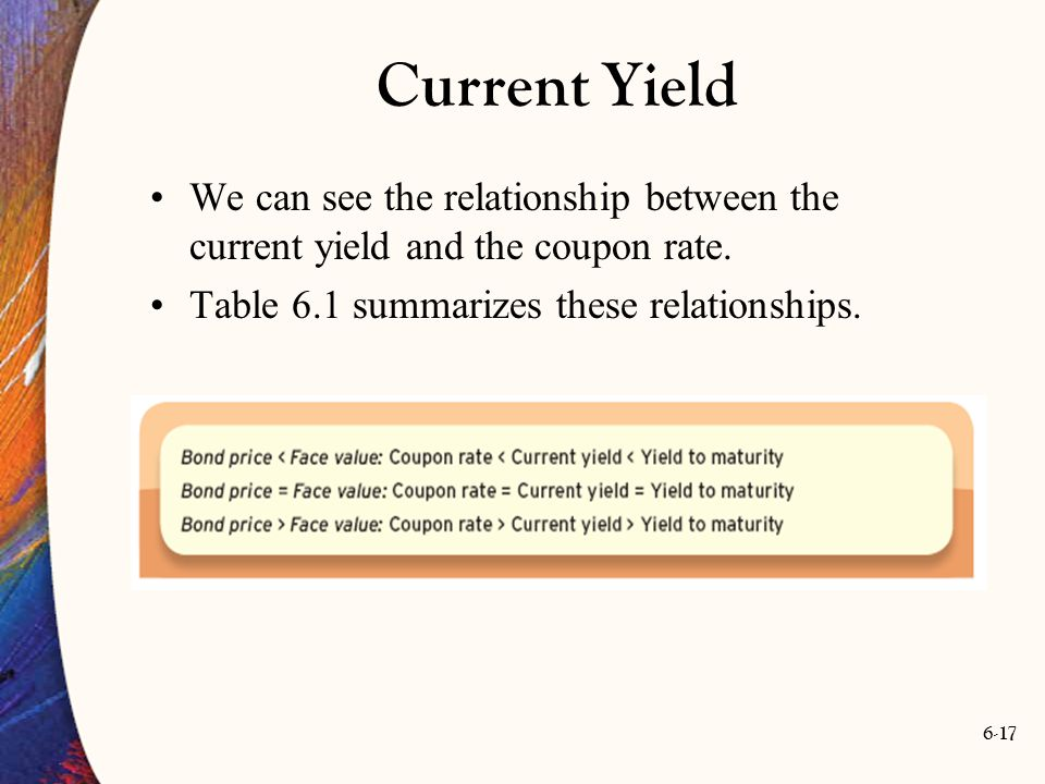 6-17 Current Yield We can see the relationship between the current yield and the coupon rate. Table 6.1 summarizes these relationships.