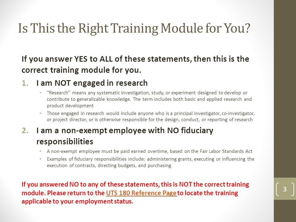 Is This the Right Training Module for You.