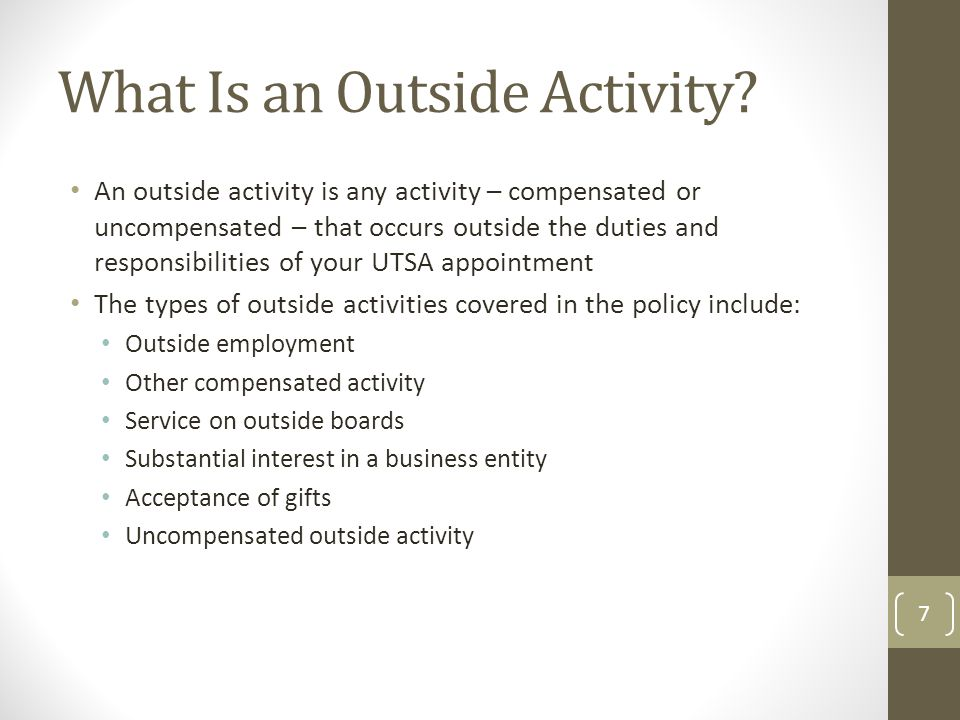 What Is an Outside Activity.