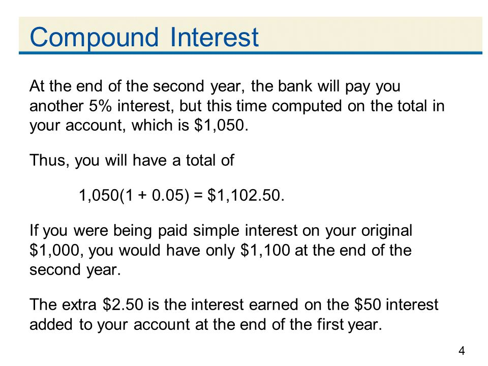 4 Compound Interest At the end of the second year, the bank will pay you another 5% interest, but this time computed on the total in your account, whi