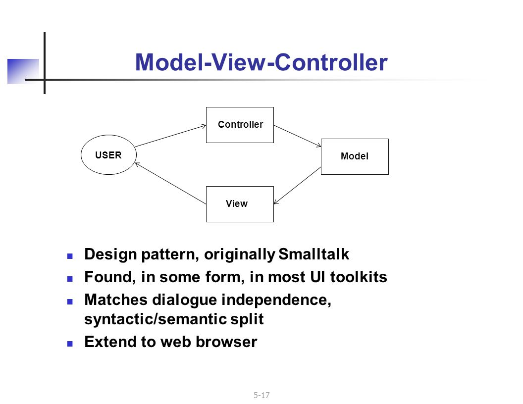 5-17 Model-View-Controller Design pattern, originally Smalltalk Found, in some form, in most UI toolkits Matches dialogue independence, syntactic/semantic split Extend to web browser USER ModelControllerView