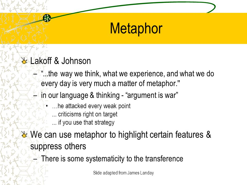 Slide adapted from James Landay Metaphor Lakoff & Johnson – ...the way we think, what we experience, and what we do every day is very much a matter of metaphor. –in our language & thinking - argument is war …he attacked every weak point...