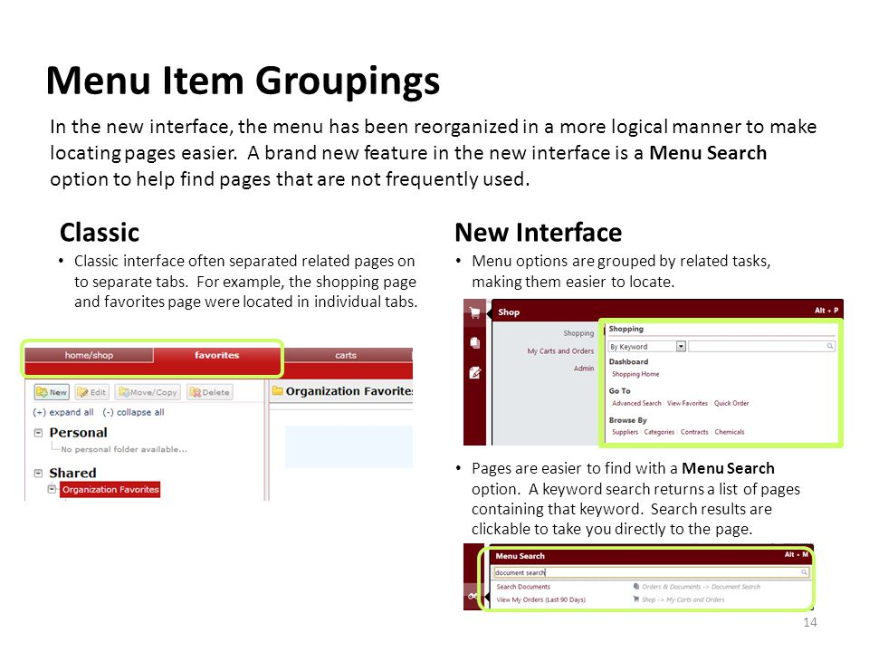 Menu Item Groupings Classic interface often separated related pages on to separate tabs. For example, the shopping page and favorites page were locate