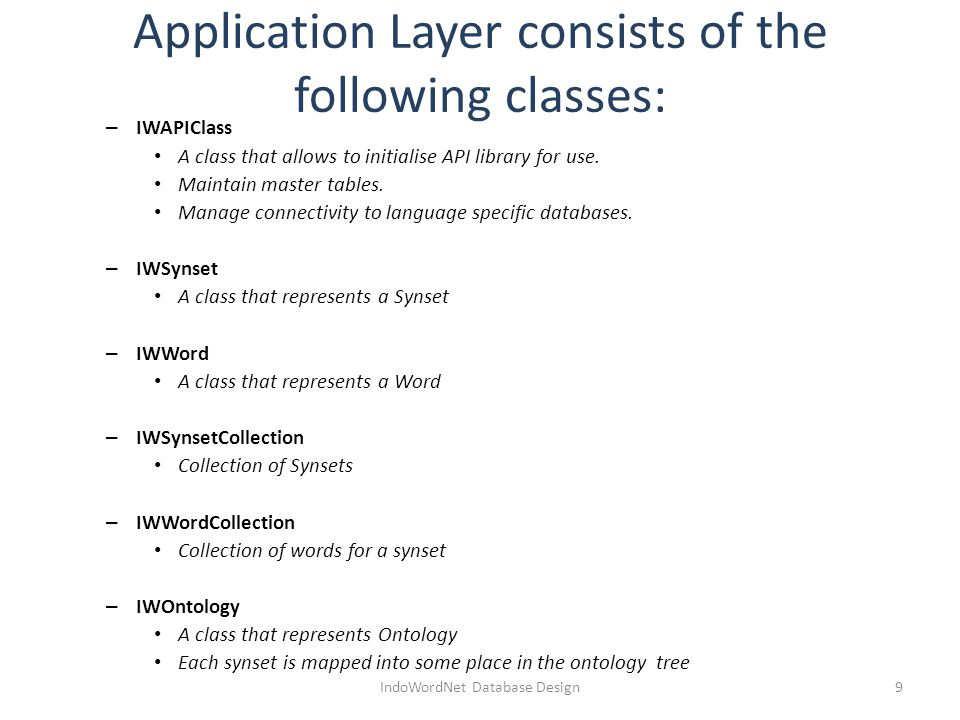 Application Layer consists of the following classes: – IWAPIClass A class that allows to initialise API library for use.