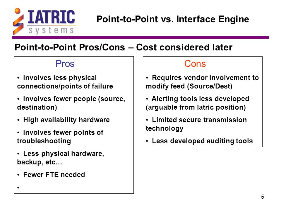 5 Point-to-Point vs. Interface Engine Point-to-Point Pros/Cons – Cost considered later Pros Involves less physical connections/points of failure Invol
