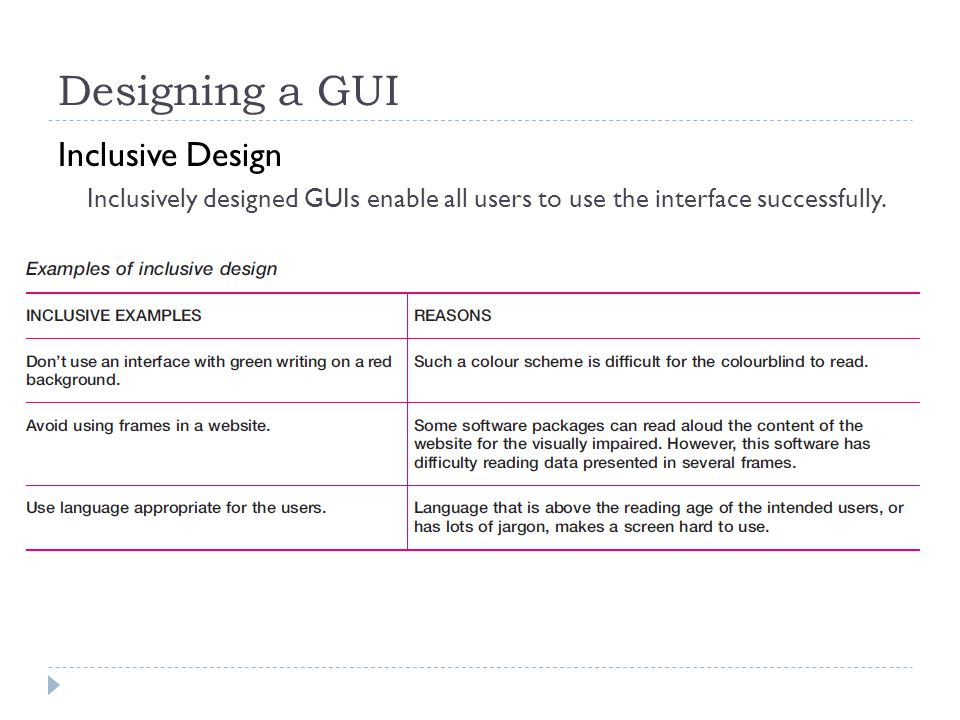 Designing a GUI Inclusive Design Inclusively designed GUIs enable all users to use the interface successfully.