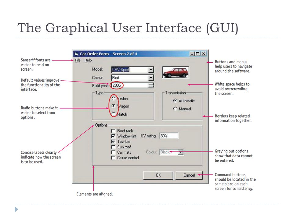 The Graphical User Interface (GUI)