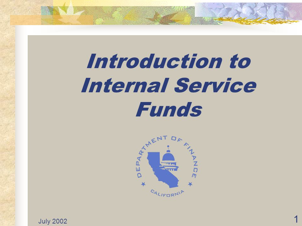 July 2002 11 Internal Service Funds (ISFs) From here on, this presentation is on the State of California's Internal Service Funds.