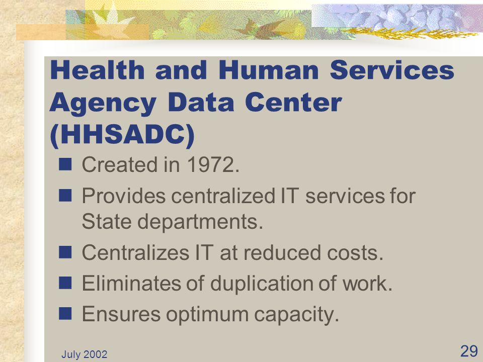 July 2002 28 Examples of ISFs... continued Let's look more closely at the Health and Human Services Agency Data Center (HHSADC), an Internal Service F