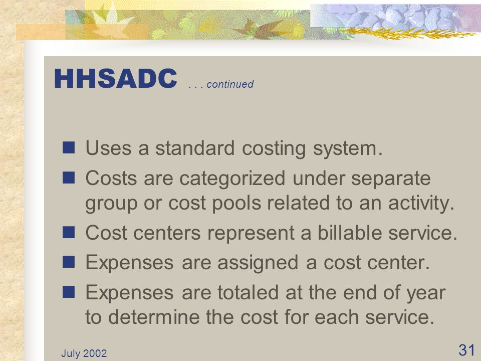 July 2002 30 HHSADC... continued Self supporting. No General Fund appropriation. Costs recovered through user charges. User charges set at the beginni