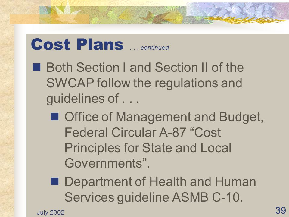 July 2002 38 Cost Plans Statewide Cost Allocation Plan (SWCAP) recovers central service costs from federal funds. SWCAP plan has two sections.