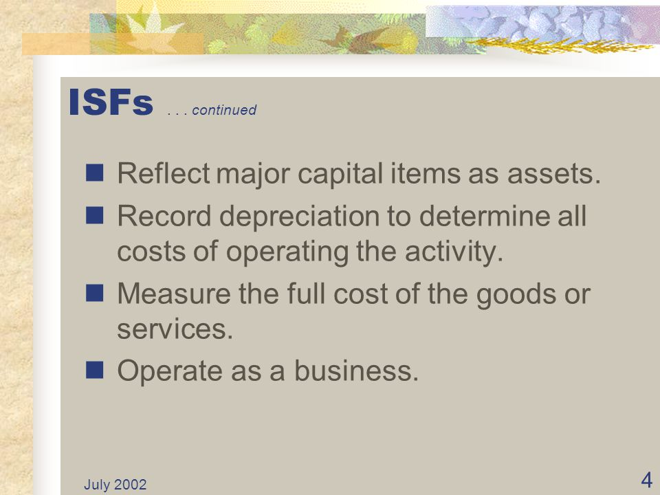 July 2002 14 ISFs Classified Funding source/appropriation to finance program activities must: Identify the resources.