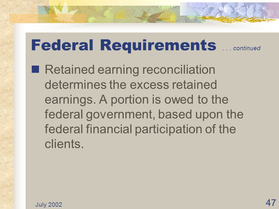 July 2002 46 Federal Requirements... continued After issuance of the Comprehensive Annual Financial Report (CAFR) each ISF in the SWCAP prepares a Rec