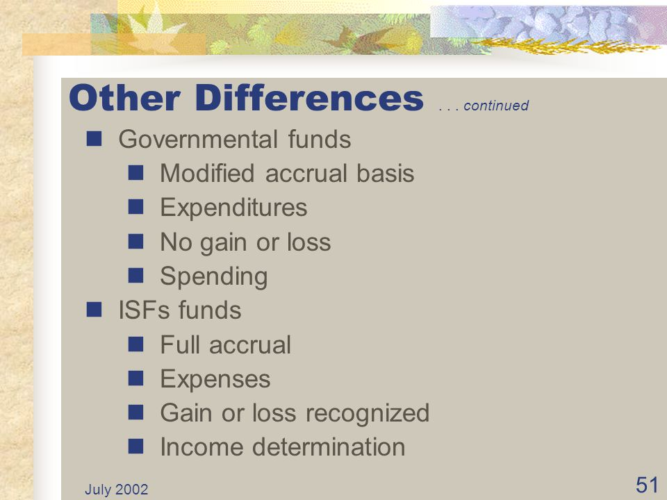 July 2002 50 Other Differences Different statements Governmental funds Only current assets and current liabilities are accounted and reported. ISF fun