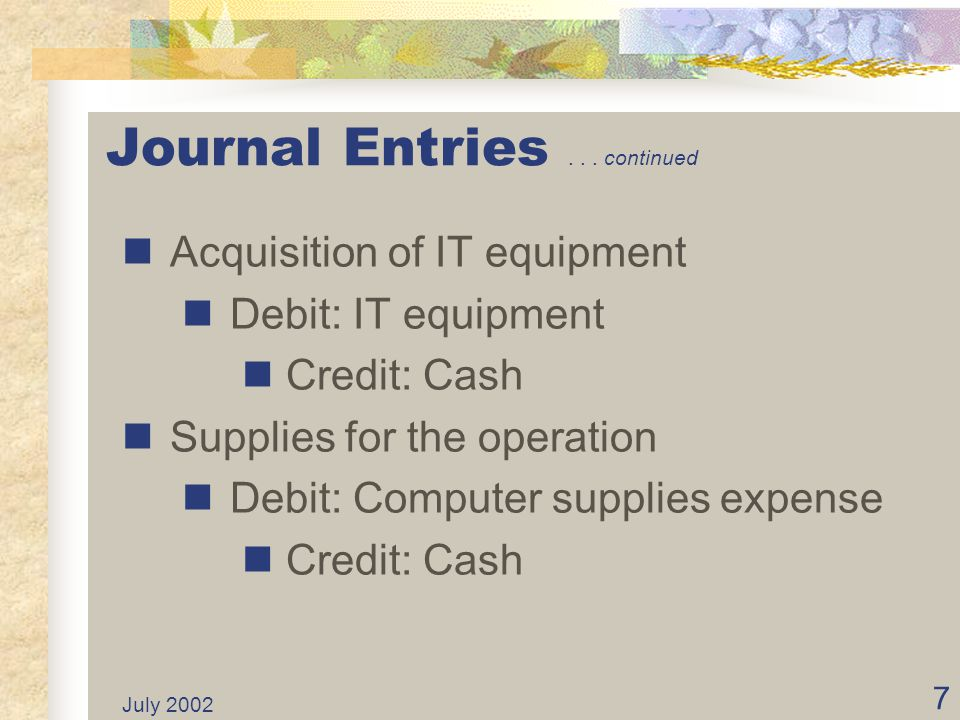 July 2002 6 Journal Entries... continued Establish an equity transfer: Debit: Cash Credit: Contributed capital from General Fund
