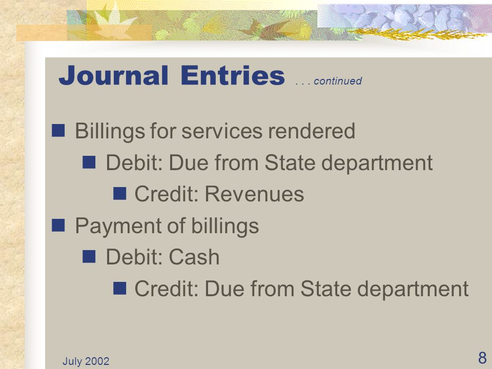 July 2002 48 State and Federal Differences State and federal government differ on the calculation of working capital.