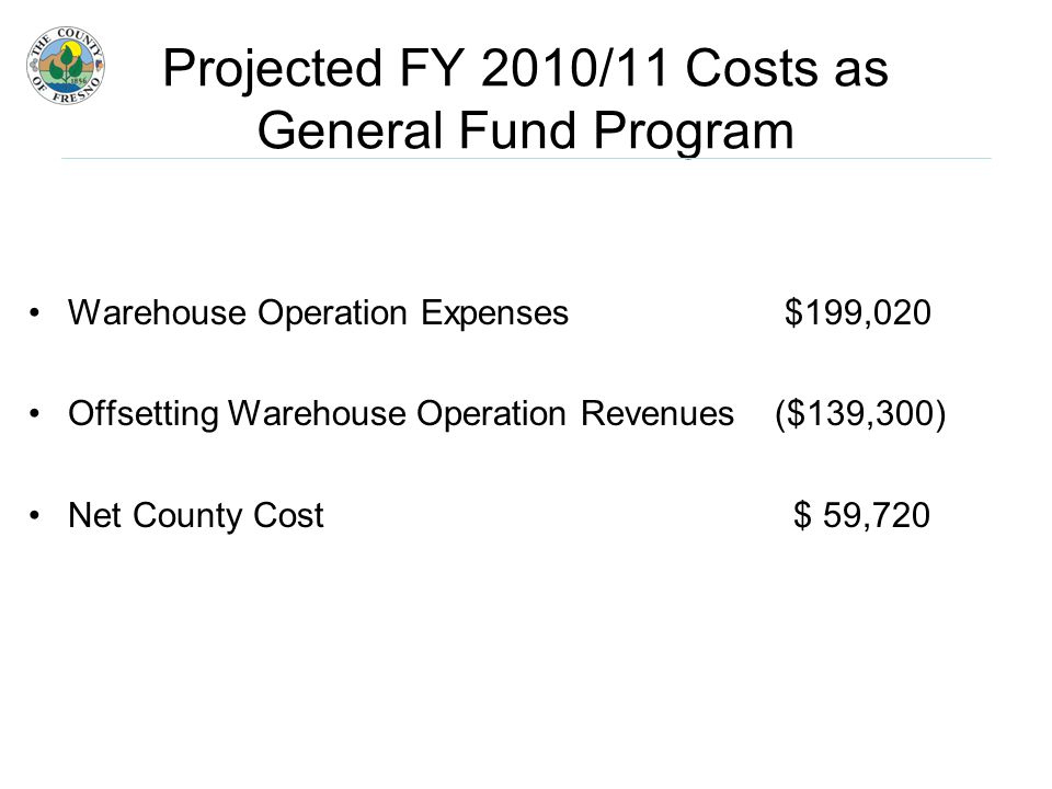 Projected FY 2010/11 Costs as General Fund Program Warehouse Operation Expenses $199,020 Offsetting Warehouse Operation Revenues ($139,300) Net County Cost $ 59,720