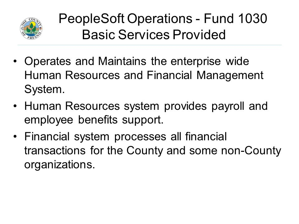 PeopleSoft Operations - Fund 1030 Basic Services Provided Operates and Maintains the enterprise wide Human Resources and Financial Management System.