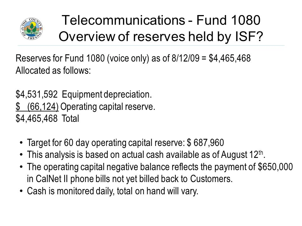 Telecommunications - Fund 1080 Overview of reserves held by ISF.