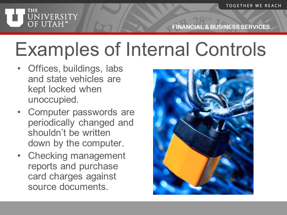 FINANCIAL & BUSINESS SERVICES Examples of Internal Controls Offices, buildings, labs and state vehicles are kept locked when unoccupied. Computer pass