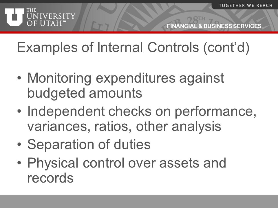 FINANCIAL & BUSINESS SERVICES Examples of Internal Controls (cont'd) Monitoring expenditures against budgeted amounts Independent checks on performanc