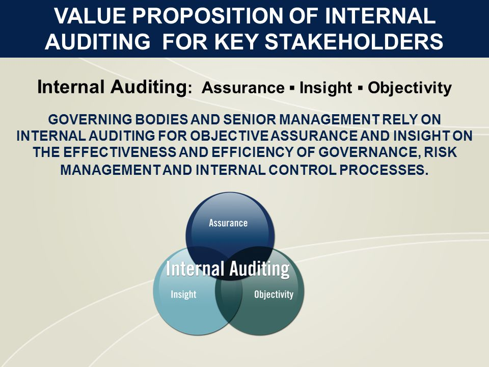 GOVERNING BODIES AND SENIOR MANAGEMENT RELY ON INTERNAL AUDITING FOR OBJECTIVE ASSURANCE AND INSIGHT ON THE EFFECTIVENESS AND EFFICIENCY OF GOVERNANCE, RISK MANAGEMENT AND INTERNAL CONTROL PROCESSES.