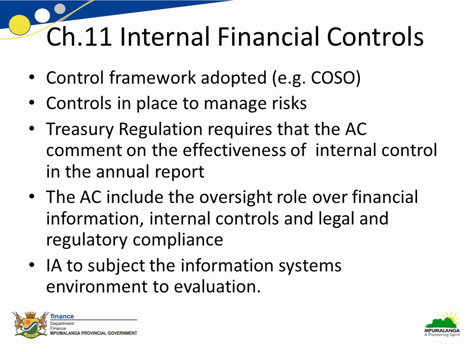 Ch.11 Internal Financial Controls Control framework adopted (e.g.