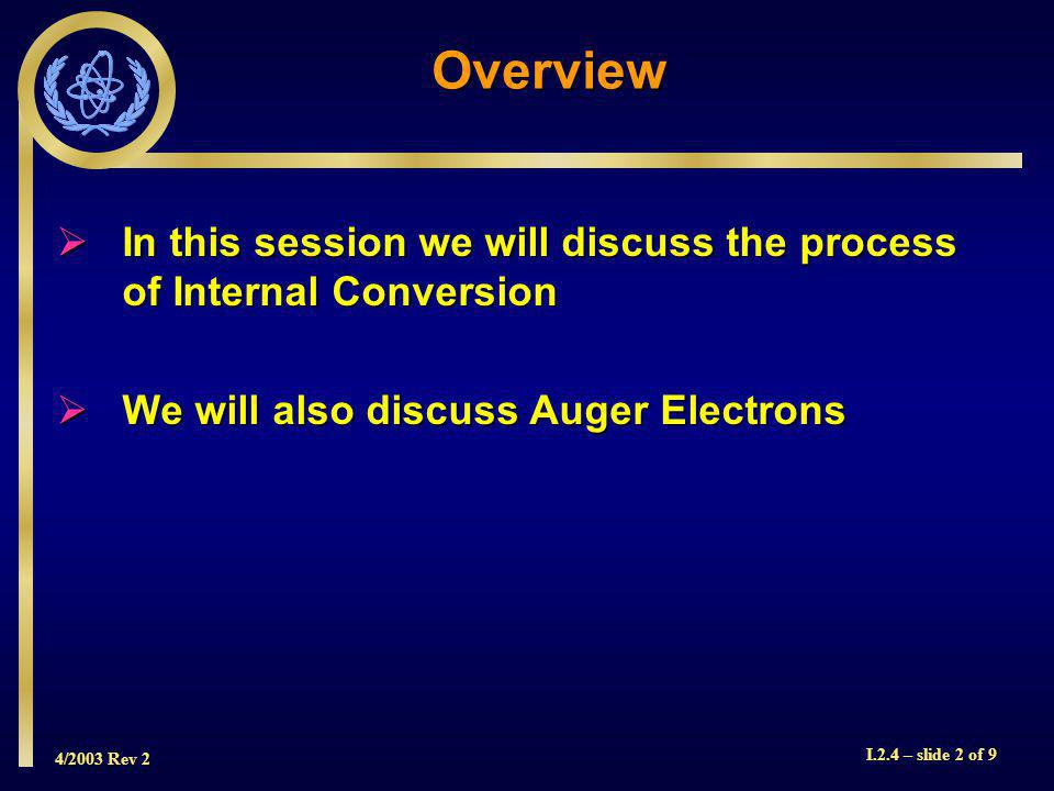 4/2003 Rev 2 I.2.4 – slide 2 of 9  In this session we will discuss the process of Internal Conversion  We will also discuss Auger Electrons Overview