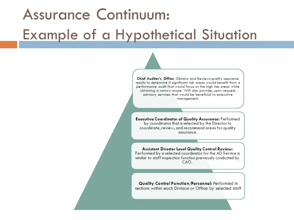 Assurance Continuum: Example of a Hypothetical Situation Chief Auditor's Office: Obtains and Reviews quality assurance results to determine if significant risk areas would benefit from a performance audit that would focus on the high risk areas while obtaining a narrow scope.
