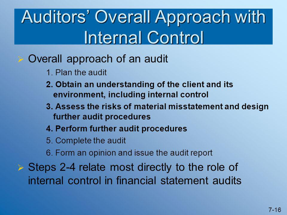 7-16 Auditors' Overall Approach with Internal Control  Overall approach of an audit 1. Plan the audit 2. Obtain an understanding of the client and it