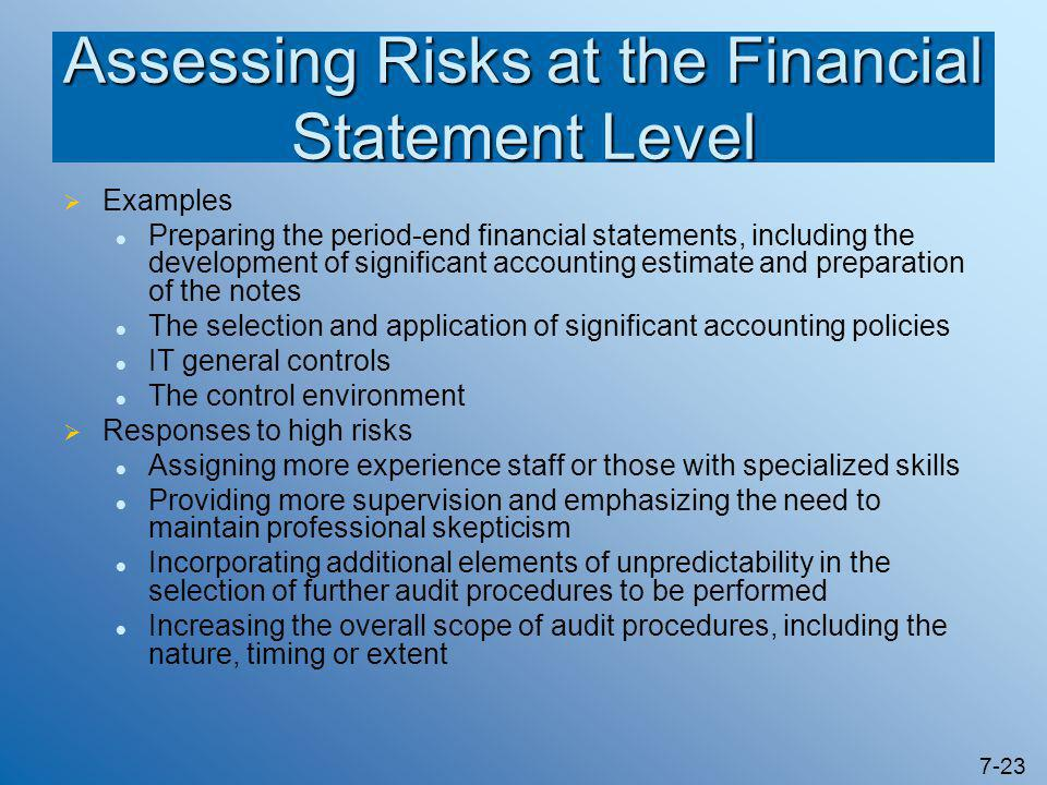 7-23 Assessing Risks at the Financial Statement Level  Examples Preparing the period-end financial statements, including the development of significa