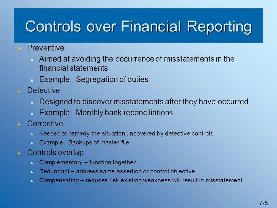 7-5 Controls over Financial Reporting  Preventive Aimed at avoiding the occurrence of misstatements in the financial statements Example: Segregation