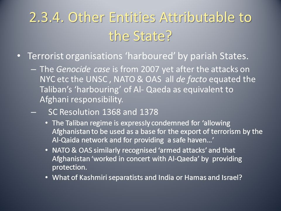2.3.4. Other Entities Attributable to the State? Terrorist organisations 'harboured' by pariah States. – The Genocide case is from 2007 yet after the