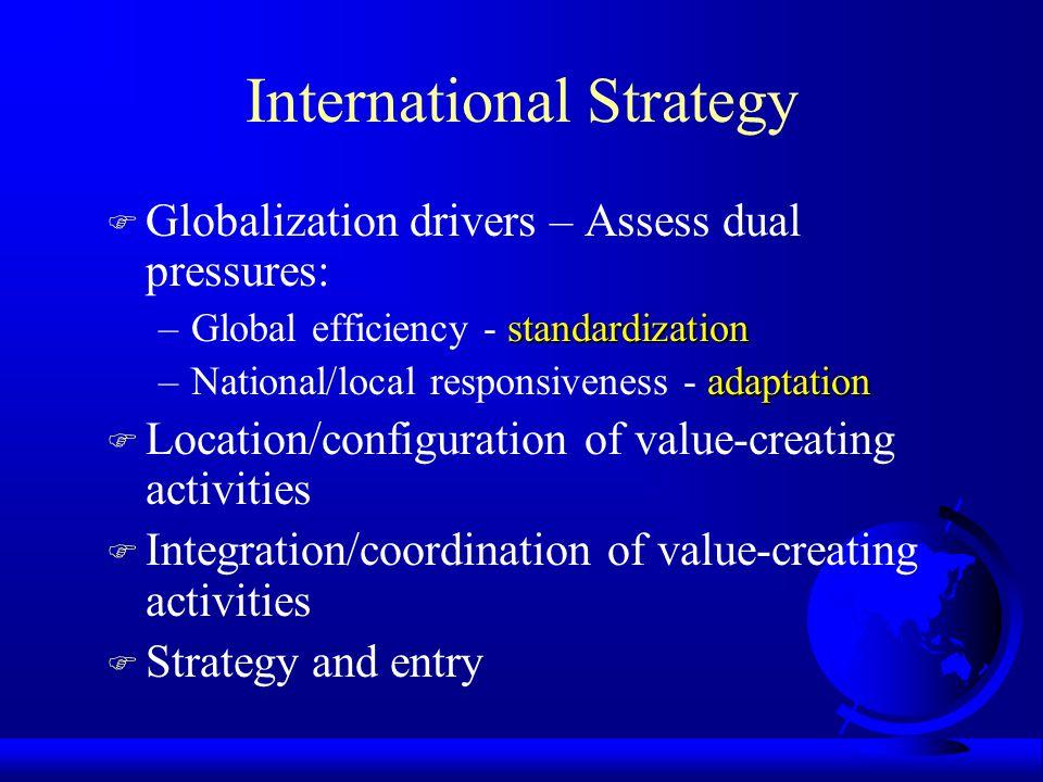 International Strategy F Globalization drivers – Assess dual pressures: standardization –Global efficiency - standardization adaptation –National/loca