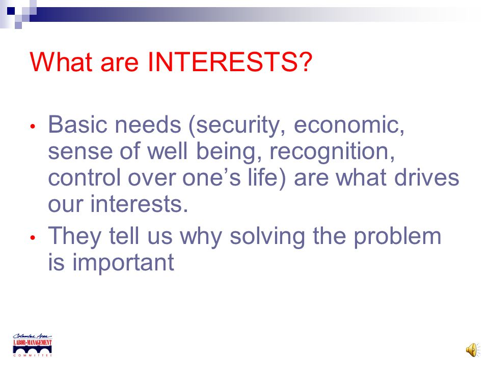 What are INTERESTS? Concerns Wants Needs Desires Fears