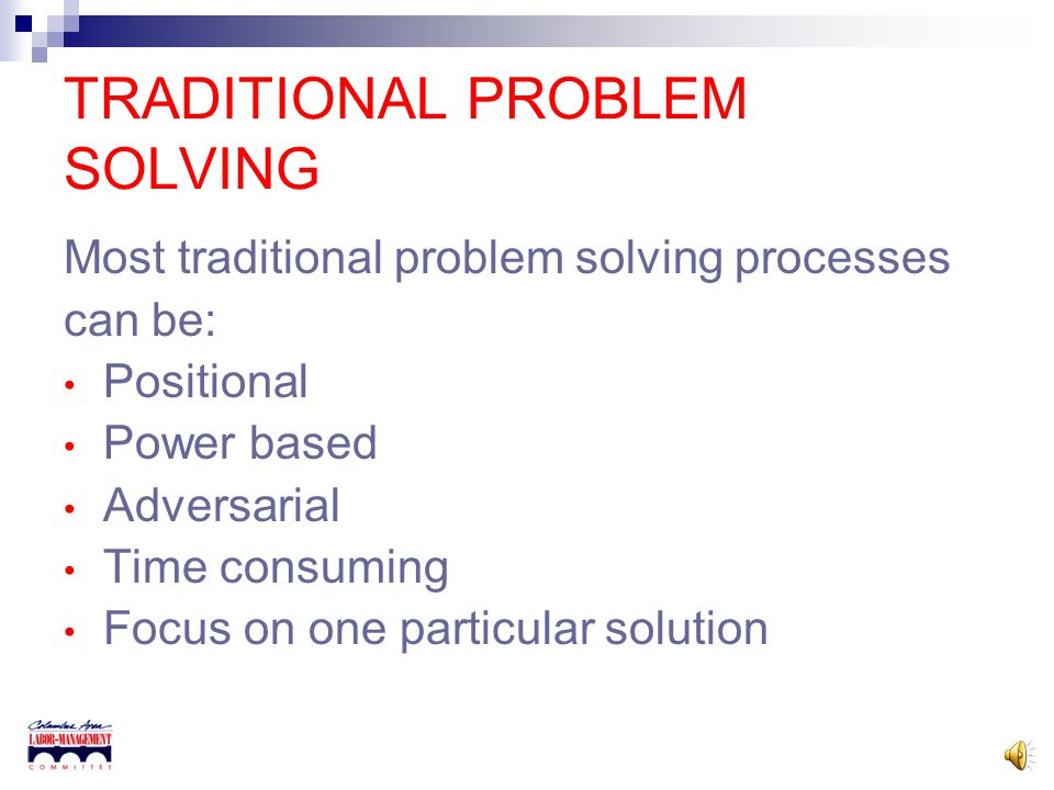 INTEREST-BASED PROBLEM SOLVING, AN EMPLOYEE ENGAGEMENT PROCESS Presented By Columbus Area Labor-Management Committee Jim Cowles, Executive Director Me